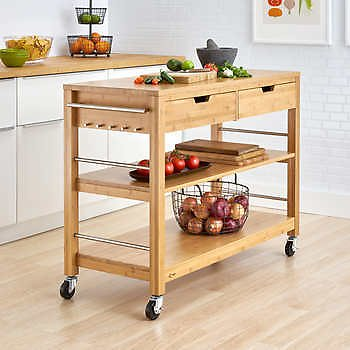 """Trinity 48"""" Bamboo Kitchen Cart with Drawers"""