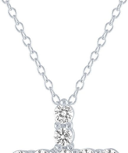 White Sapphire Cross Pendant Necklace in Sterling Silver