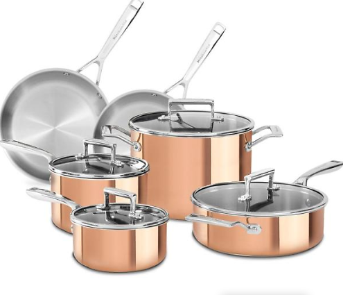 KitchenAid 10-Piece Copper Cookware Set W/ Lids + F/S