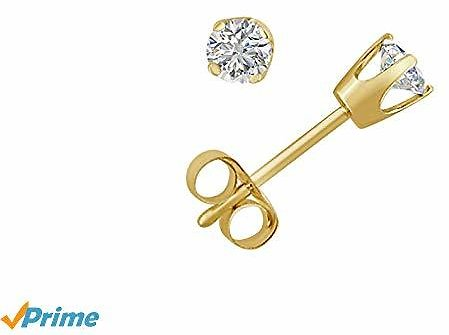 AGS Certified (SI2-I1) 1/4ct TW Round Diamond Stud Earrings in 14K Yellow Gold