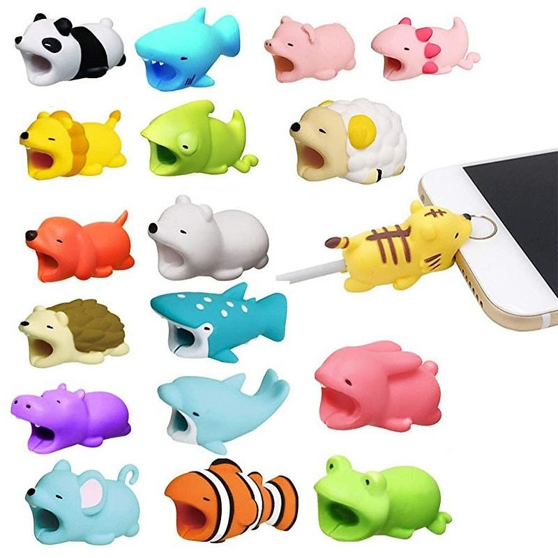 1 Pcs Animal Cable Bites Protector for Iphone Protege  Buddies Cartoon Cable Bites Kabel Diertjes Phone Holder Accessory
