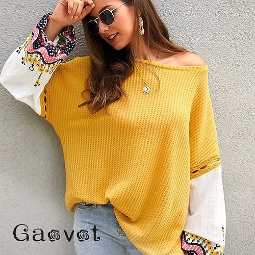 All New From Gaovot Floral-Embroidered Puff-Sleeve Sweater - Women at under $25