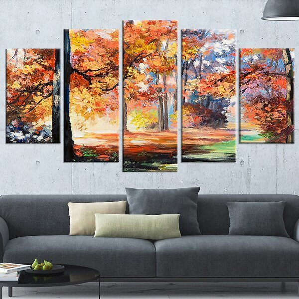 'Fall Trail in Forest' 5 Piece Painting Print On Wrapped Canvas Set