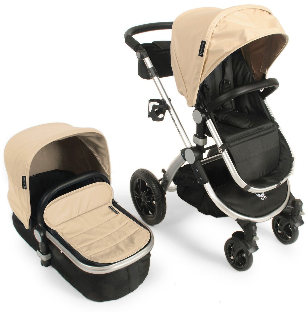 Babyroues Letour Avant Luxe Stroller with Bassinet Silver Frame, Tan Leatherette