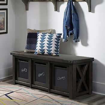 Amy Storage Bench with Chalkboard Bins