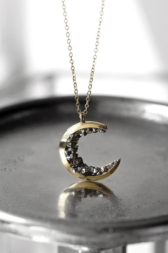 Celestial Jewelry Gold Crescent Moon Pendant Necklace Halloween Jewelry Gift For Her For Women Best Friends Statement Jewelry Gifts For Mom