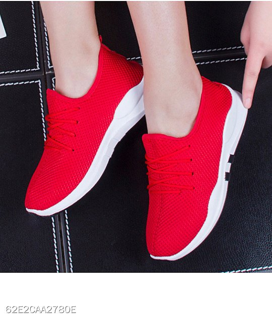 Low Heeled Criss Cross Round Toe Casual Sport Sneakers
