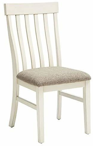 2 Ashley Upholstered Side Chair in Antique White Finish