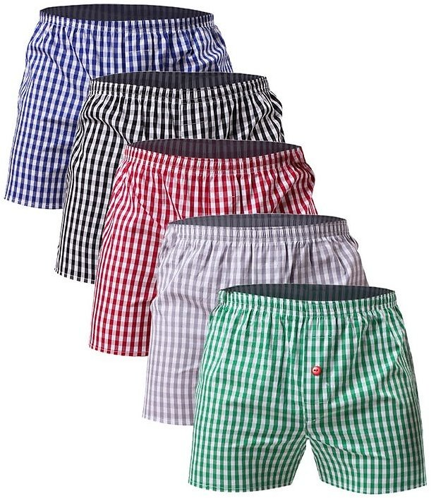 Underpants Men Boxer Home Shorts Classic Plaid Combed Male Loose Breathable Family Underpants-in Casual Shorts