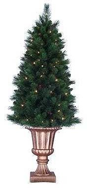 Artificial Pre-Lit Christmas Tree, Potted, Indoor/Outdoor, 5-Ft.