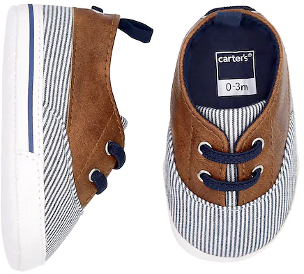 Baby Boy Carters Striped Boat Shoe Crib Shoes (Various Colors) + Ships Free