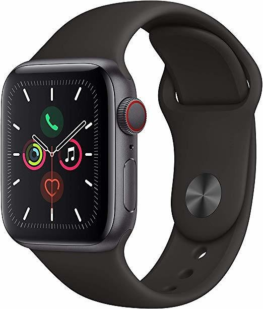 (New) Apple Watch Series 5 (GPS + Cellular, 40mm) - Space Black Stainless Steel Case with Black Sport Band