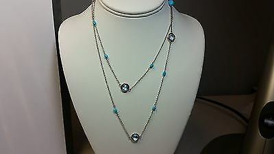 Genuine Sleeping Beauty Turquoise & Faceted Blue Topaz 925 Silver Necklace 36