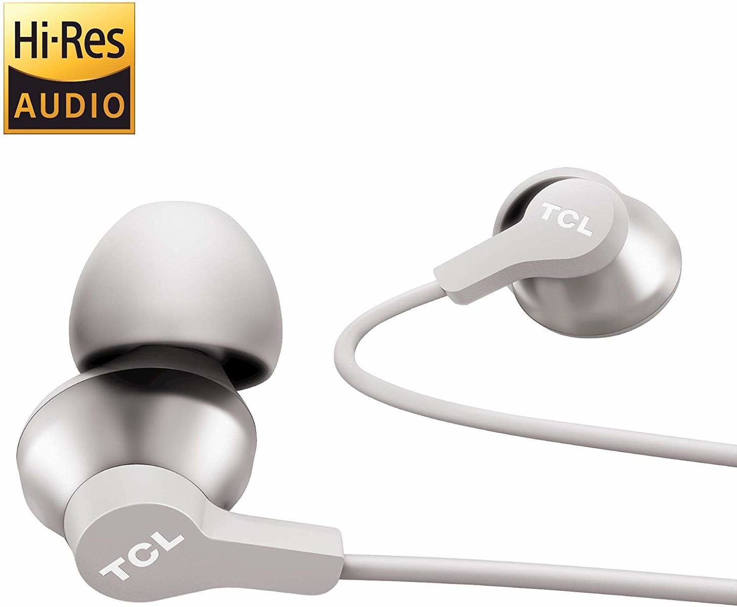 TCL Elit100 In-Ear Earbuds Hi-Res Wired Noise Isolating Headphones with Built-in Mic - Cement Gray