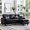 HONBAY Convertible Sectional Sofa Couch Leather L-Shape Couch with Modern Faux Leather Sectional for Small Space Apartment Black: Kitchen & Dining