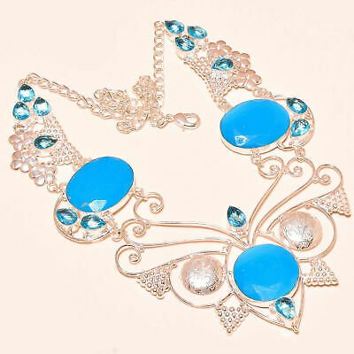 Faceted Sleeping Beauty Turquoise, Blue Topaz Handmade 925 Silver Necklace