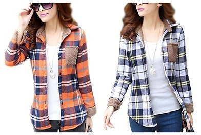 Womens Heavyweight Plaid Wool Fleece Lined Flannel Shirt with Pocket