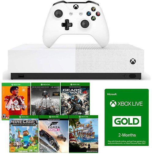 Microsoft 1TB Xbox One S All Digital Edition 6 Game Downloads + 4 Months Xbox Live Gold