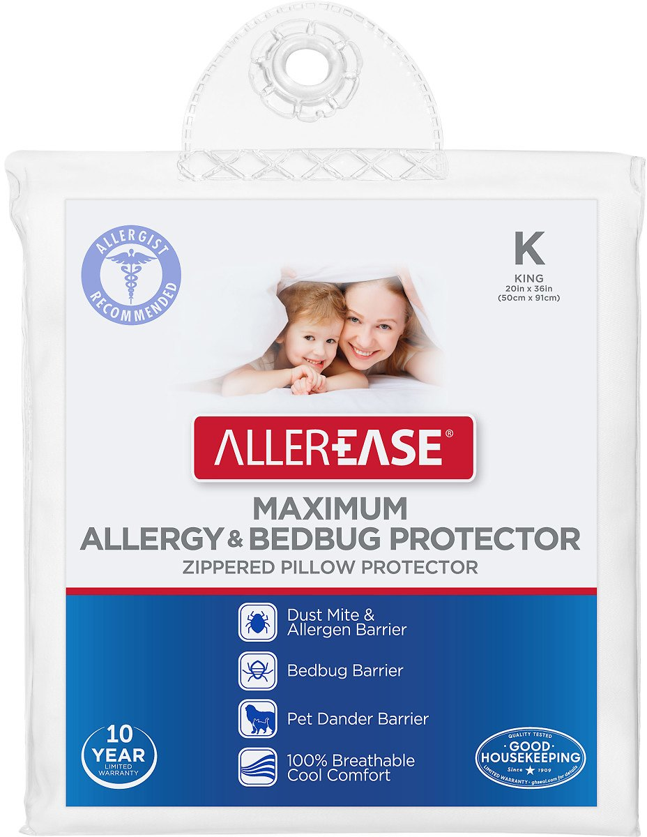 AllerEase Maximum Allergy Protection Breathable Zippered Pillow Protector, King