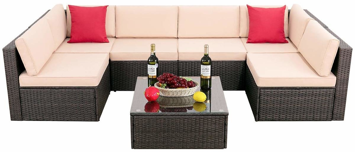 Walnew 7 Pieces Outdoor Sectional Sofa All-Weather Patio Furniture Sets Manual Weaving Wicker Rattan Patio Conversation Sets Wit