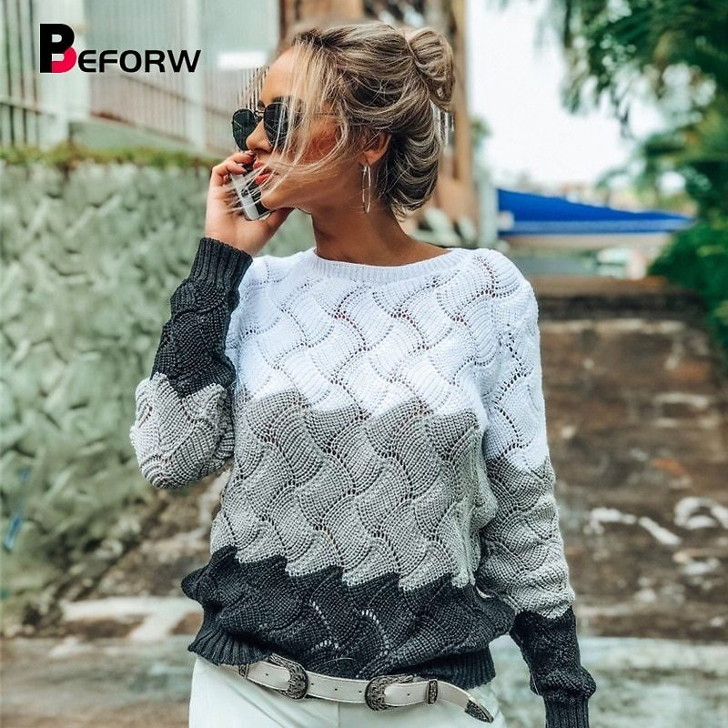 2019 Women Winter Long Sleeve Crewneck Knitted Pullover Sweater Vintage