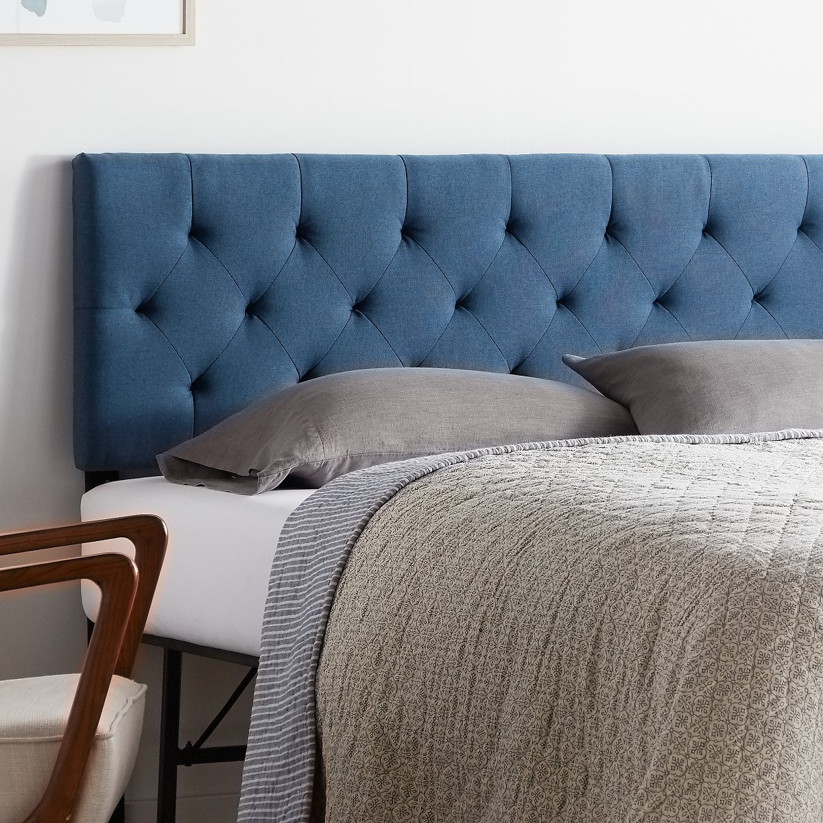 Rest Haven Low Profile Diamond Tufted Upholstered Headboard - Twin / Twin XL - Cobalt