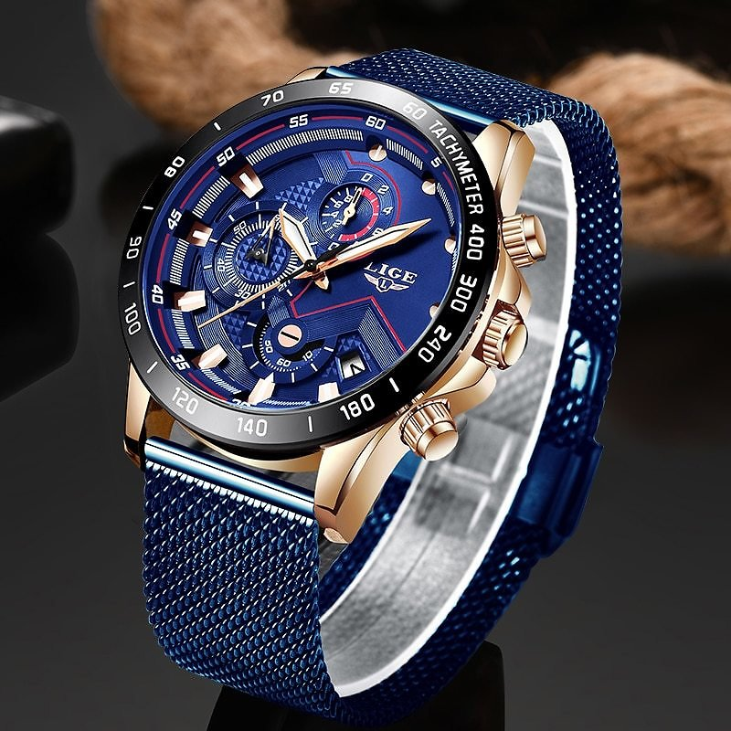 US $16.79 92% OFF|LIGE Fashion Mens Watches Top Brand Luxury WristWatch Quartz Clock Blue Watch Men Waterproof Sport Chronograph Relogio Masculino-in Quartz Watches from Watches On Aliexpress.com | Alibaba Group