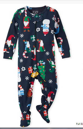 Long Sleeve Gnome For The Holidays Print Matching Snug Fit Cotton Footed One Piece Pajamas