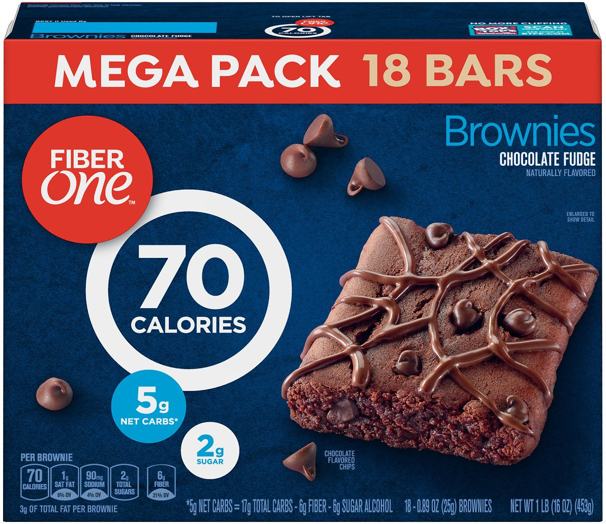 Fiber One 70 Calorie Chocolate Fudge Brownie Mega Pack 18 Bars 16 Oz