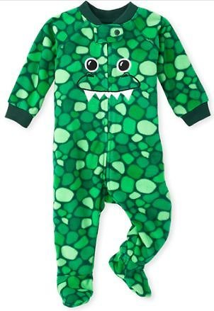 Baby And Toddler Boys Matching Family Halloween Costume Long Sleeve Dino Print Fleece Footed One Piece Pajamas