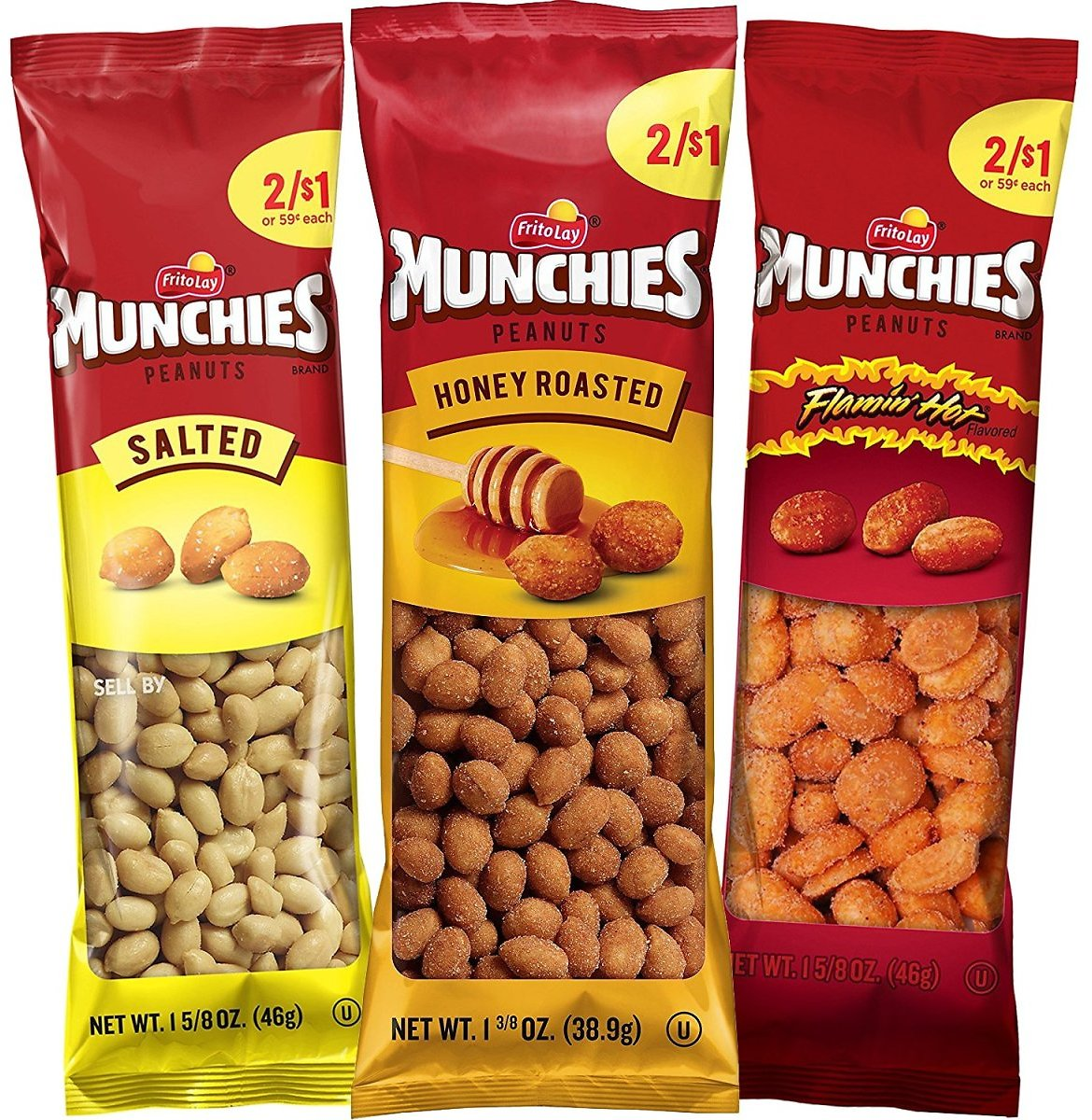 36 Count Munchies Peanut Variety Pack (Salted, Flamin' Hot, Honey Roasted)