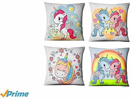 Rommeka Throw Pillow Covers, 4 Packs Unicorn Decorative Square Pillow Case Cushion Cover for Couch Sofa Car Bed 18X18 Inch, 45X45cm (Style A)