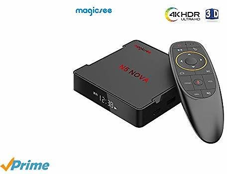4GB RAM 64GB ROM Android 9.0 Smart TV Box, 2.4GHz + 5GHz WiFi, 2019 Lastest Magicsee N5 NOVA OTT TV Box with Voice Remote Air Mouse, Support 4K 3D