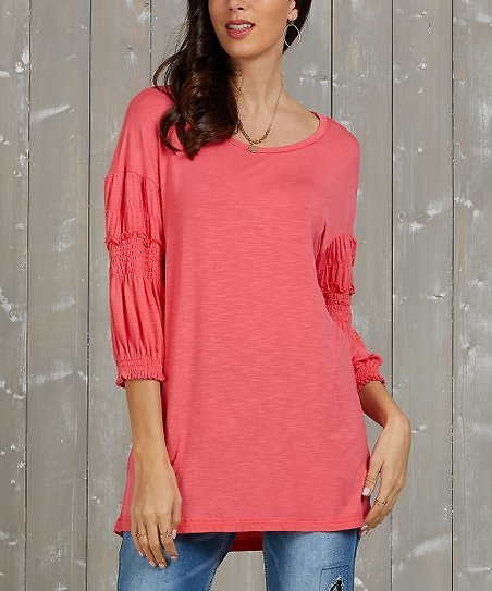 Love This Product Coral Ruffle Three-Quarter Sleeve Tunic - Women & Plus.