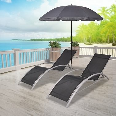 Two-sunloungers One Umbrella Set with Parasol Aluminum