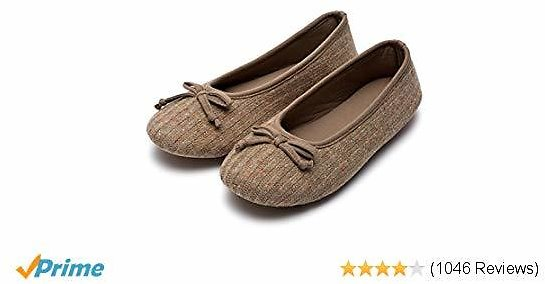HomeTop Women's Elegant Cashmere Knitted Memory Foam Indoor Ballerina House Slippers/Shoes