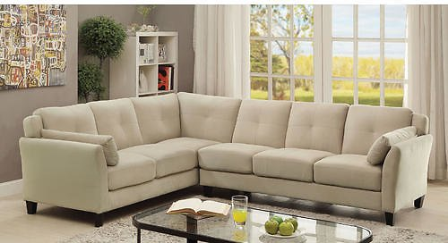 Furnitur of America Contemporary Living Room Sectional Beige Sofa Chaise Plush Cushion Tufted Seating Armrest Flannelette Fabric