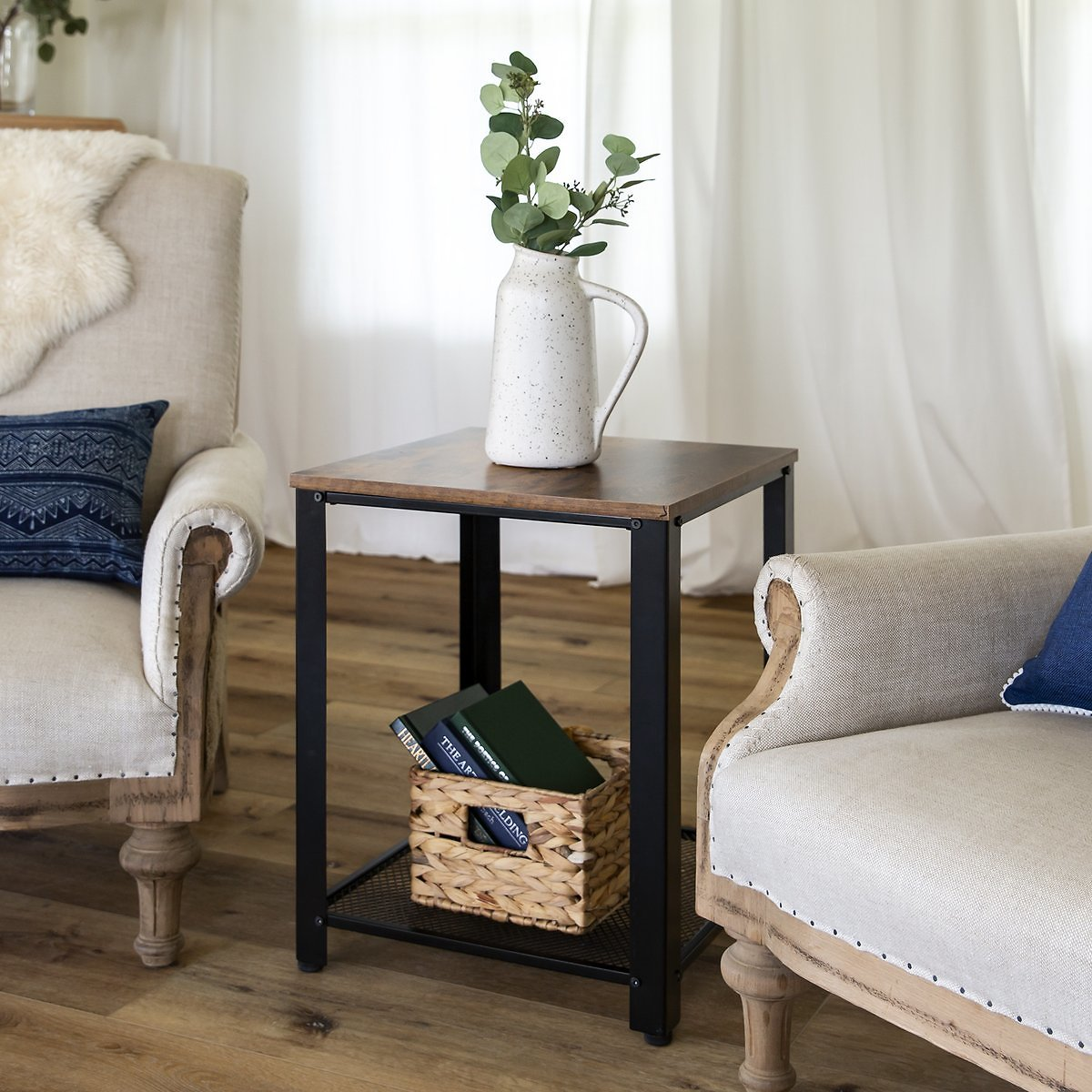 2-Tier Rustic Industrial Side End Table w/ Wood Finish Top