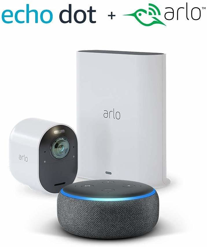 Arlo Ultra - 4K UHD Wire-Free Security 1 Camera System | Indoor/Outdoor Security Cameras with Echo Dot 3rd Gen (Charcoal Gray)