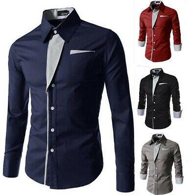 Fashion Men's Casual Shirts Business Dress T-shirt Long Sleeve Slim Tops Blouse