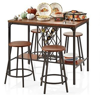 Wood/Metal Pub-Style Dining Table and Stools Set, 5-Piece (In Store)