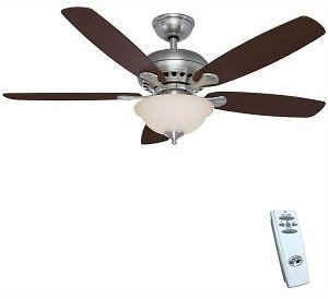 Hampton Bay Southwind 52 In. LED Indoor Brushed Nickel Ceiling Fan with Light Kit and Remote Control-52379