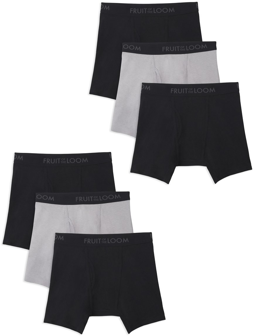 6 Pack Fruit of The Loom Men's Breathable Cotton Micro-Mesh Assorted Boxer Briefs,