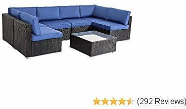 Peach Tree Outdoor Furniture All-Weather Sectional Wicker Sofa Set 7 PCs Patio Rattan Clearance with Washable Orange Cushions, w/ Glass Coffee Table, Backyard, Pool
