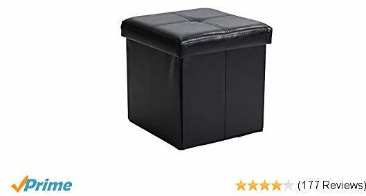 Simplify Tufted Folding Storage Ottoman, Toy Box Chest, Seat, Foot Rest, Stool, (Faux Leather)
