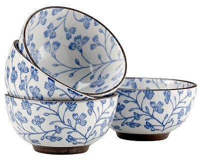 Over and Back Floral Rice Bowls, Set of 4 (2 Colors)