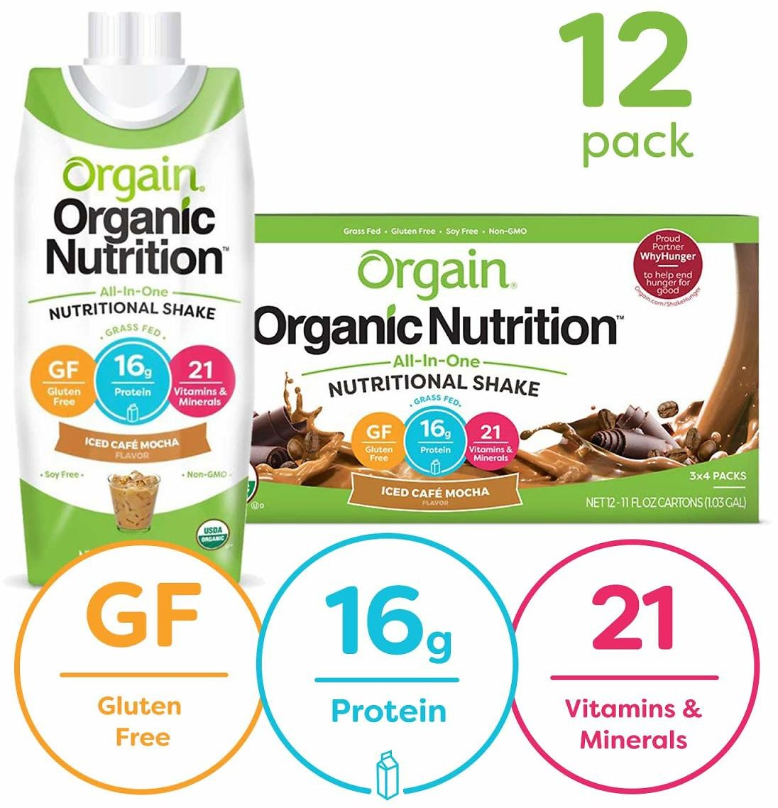 Orgain 12 Count of 11 Ounce Iced Cafe Mocha Meal Organic Nutritional Shake