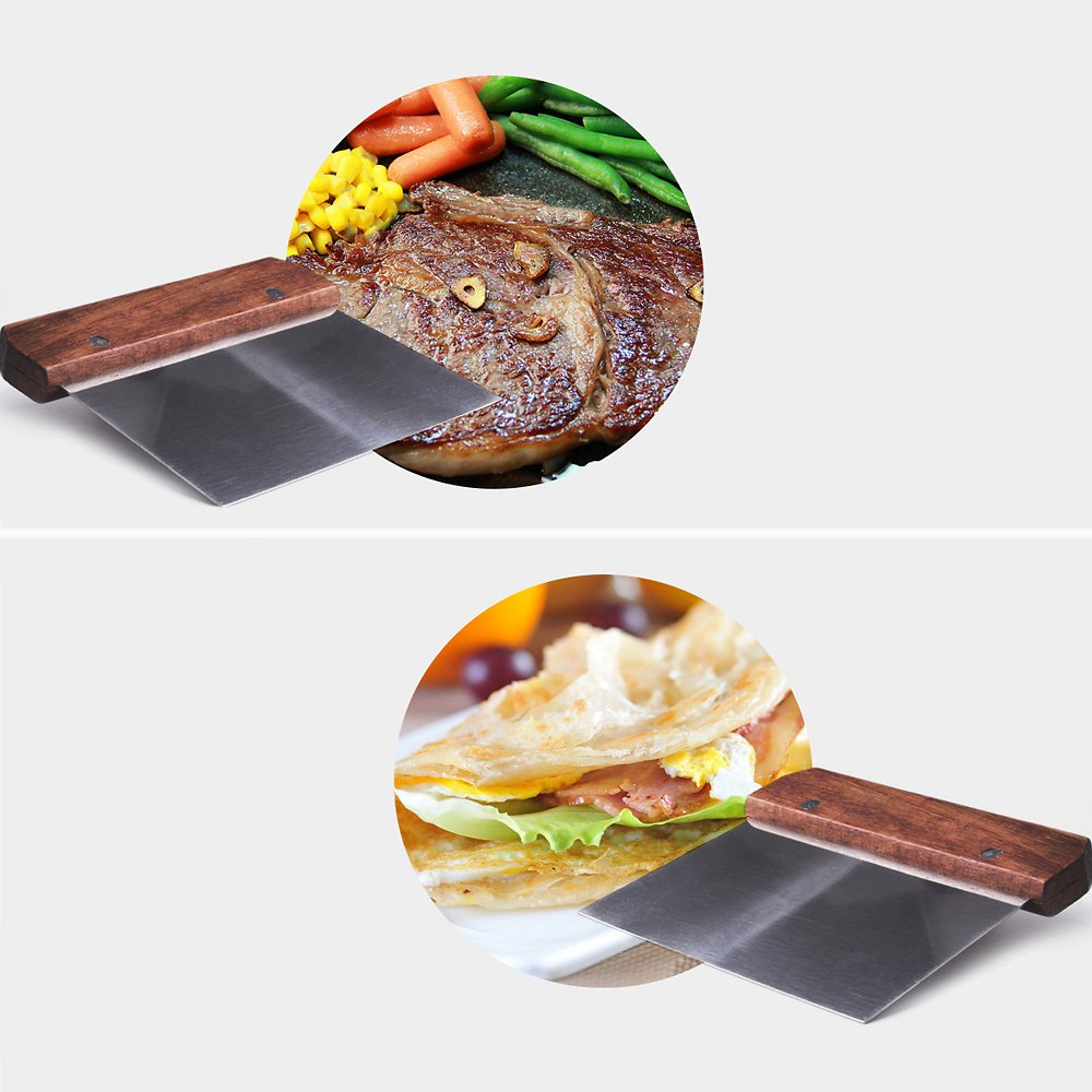 Dough Scraper, Stainless Steel Chopper Wood Handle Pastry Pizza Cutter Slicer