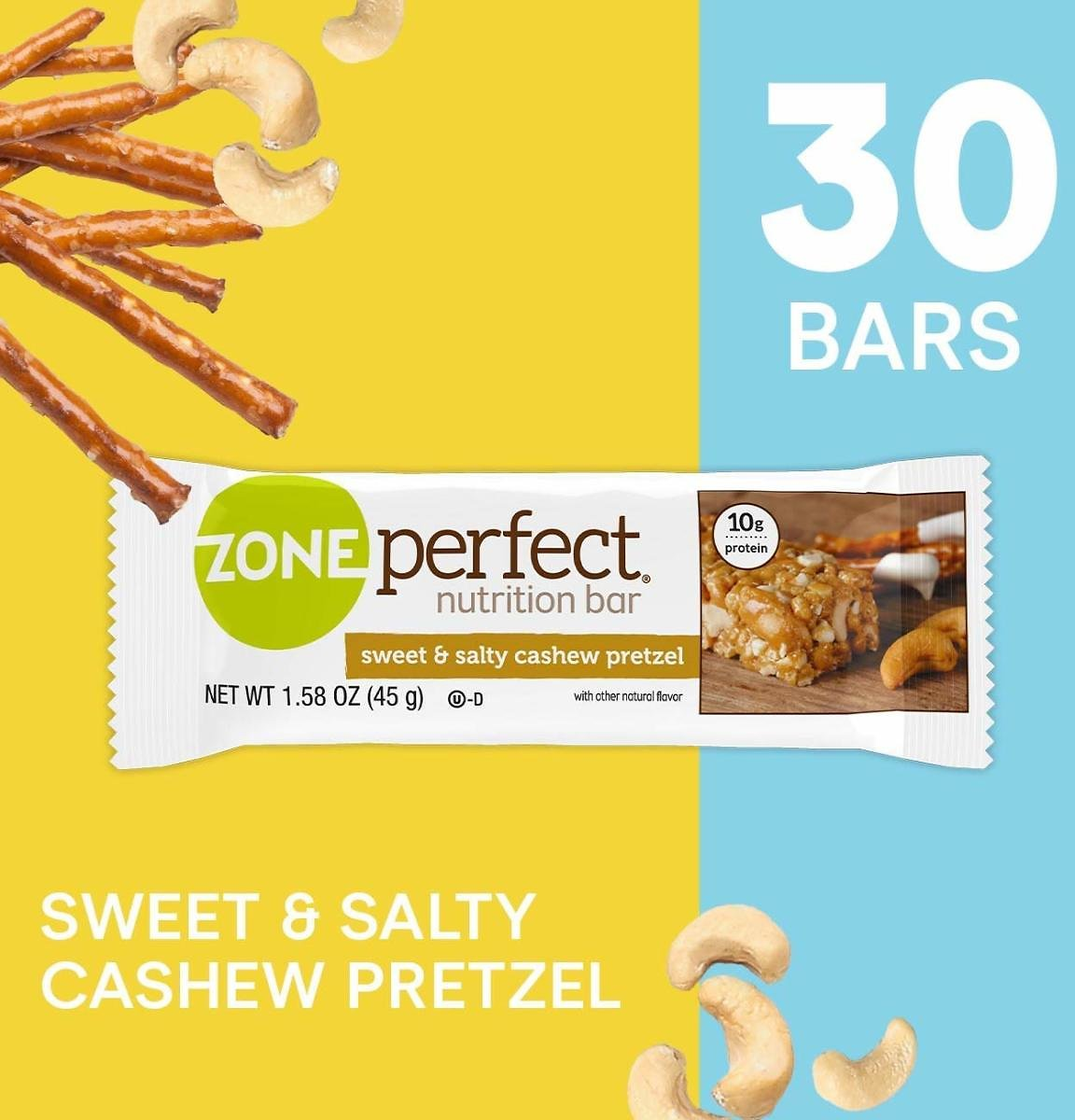 ZonePerfect Protein Bars, Sweet & Salty Cashew Pretzel, High Protein, With Vitamins & Minerals, 1.58 Ounce (30 Count)