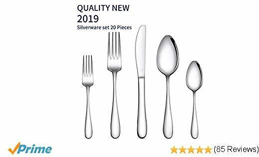 Gineoo Silverware Set 20-Piece, Stainless Steel Flatware Utensils Set Service for 4, Simple Look & Modern Design, Dishwasher Safe